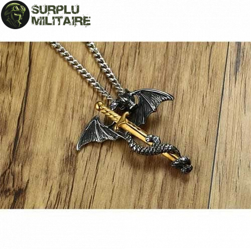 collier militaire dragon epee pas chers