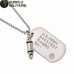 collier militaire plaque john rambo argent 1