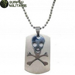 collier militaire plaque skull cat 1